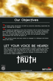 "Flyer announcing ""Operation Truth"" at the California State Capitol, August 6, 2006."